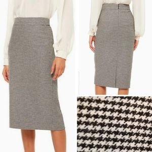 {4} Kate Spade Houndstooth Wool Pencil Skirt